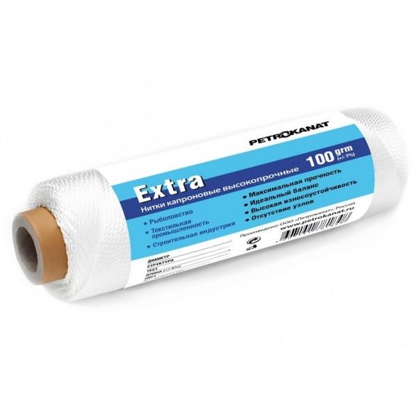 Нить капроновая Extra, 100 г.  210 den/6 (0,56 мм) белая